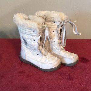 Toddler Girls Polo White Boot Sz 8M